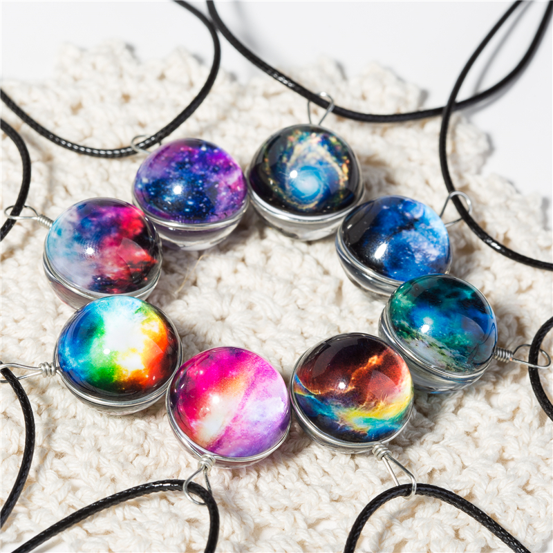 Jewelry & Accessories Duplex Planet Collares Crystal Stars Ball Glass Galaxy Pattern Leather Chain Pendants Maxi Necklace For Womem Girlfriend Gift By Scientific Process