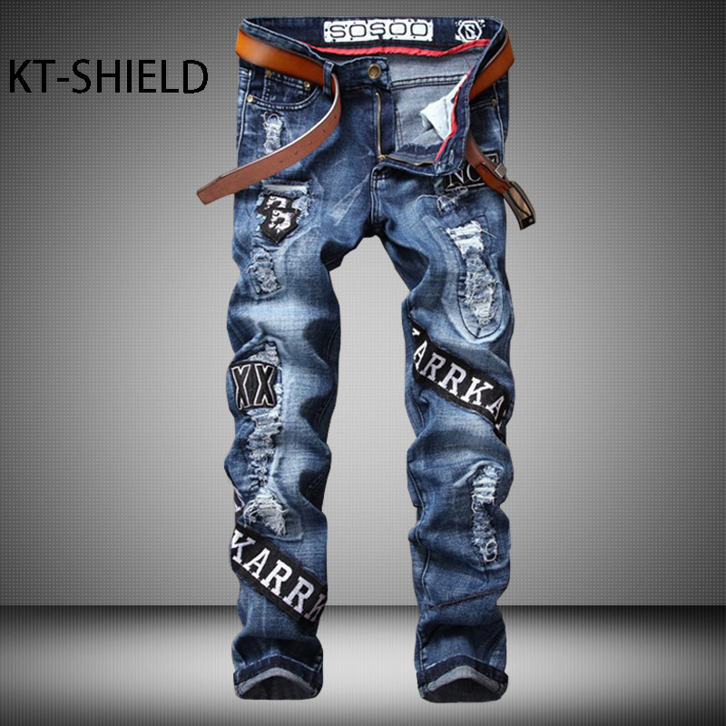 Fashion men Casual straight Elastic jeans trousers 3D Printed embroidered biker brand Ripped hip hop Denim pants hombre vaqueros