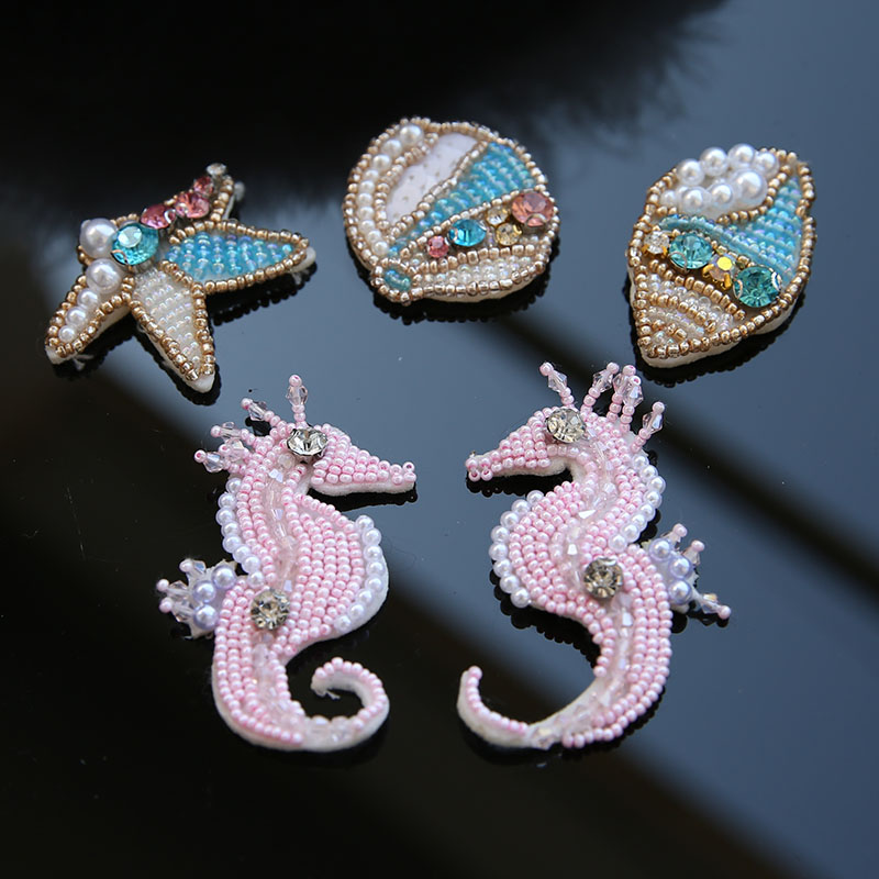 New series of manual nail bead sea shells patch clothes bag decoration sea horse patch applique DIY accessories