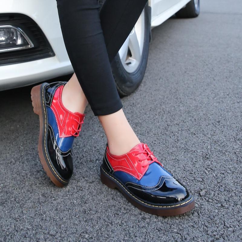 2016 осень женщины оксфорд обувь старинные круглый носок квартир женщин дерби ботильоны англия стиль женская обувь Сапоги femmer