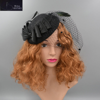BRITNRY Beautiful Wedding Hat Black Lace Birdcage Veil Bow with Tulle Wedding Accessories for Hair