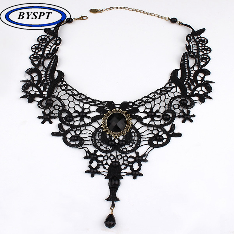 BYSPT Fashion Goth Necklaces Women Beauty Girl Handmade Jewerly Retro Vintage Lace Necklace Collar Gothic Choker Necklace