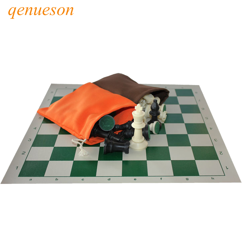 New Hot High Quality Standard Solid Plastic Chess Set Portable Travel Leather Chess Board Adult Children's Puzzle Games qenueson