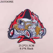 ZOTOONE New Fashion Big Iron On Tactical Bike Patches Embroidery Punk Rock Patch Jeans Motif Applique Stickers For Clothes 2018