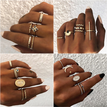 Ins Hot Sale 5 Pcs/Set Finger Knuckle Black Stone Ring Boho Star Moon Rings Set For Women Statement Vintage Party Jewelry