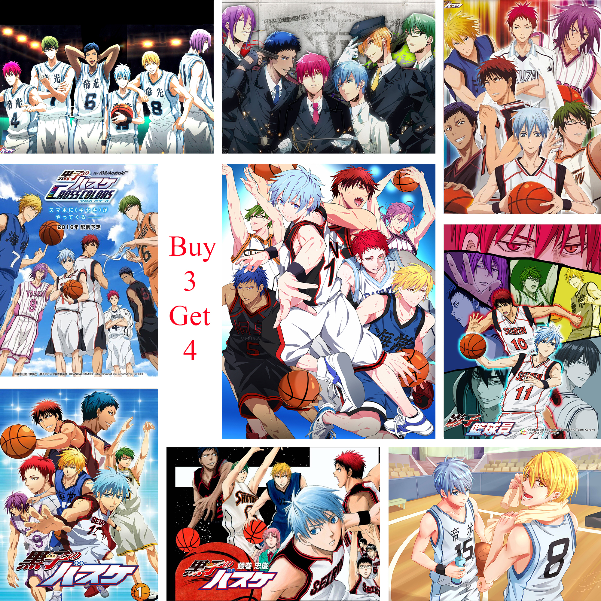 Баскетбольные постеры Kuroko японского аниме, настенные наклейки с белым покрытием, печатная бумага, четкое изображение, домашнее украшение