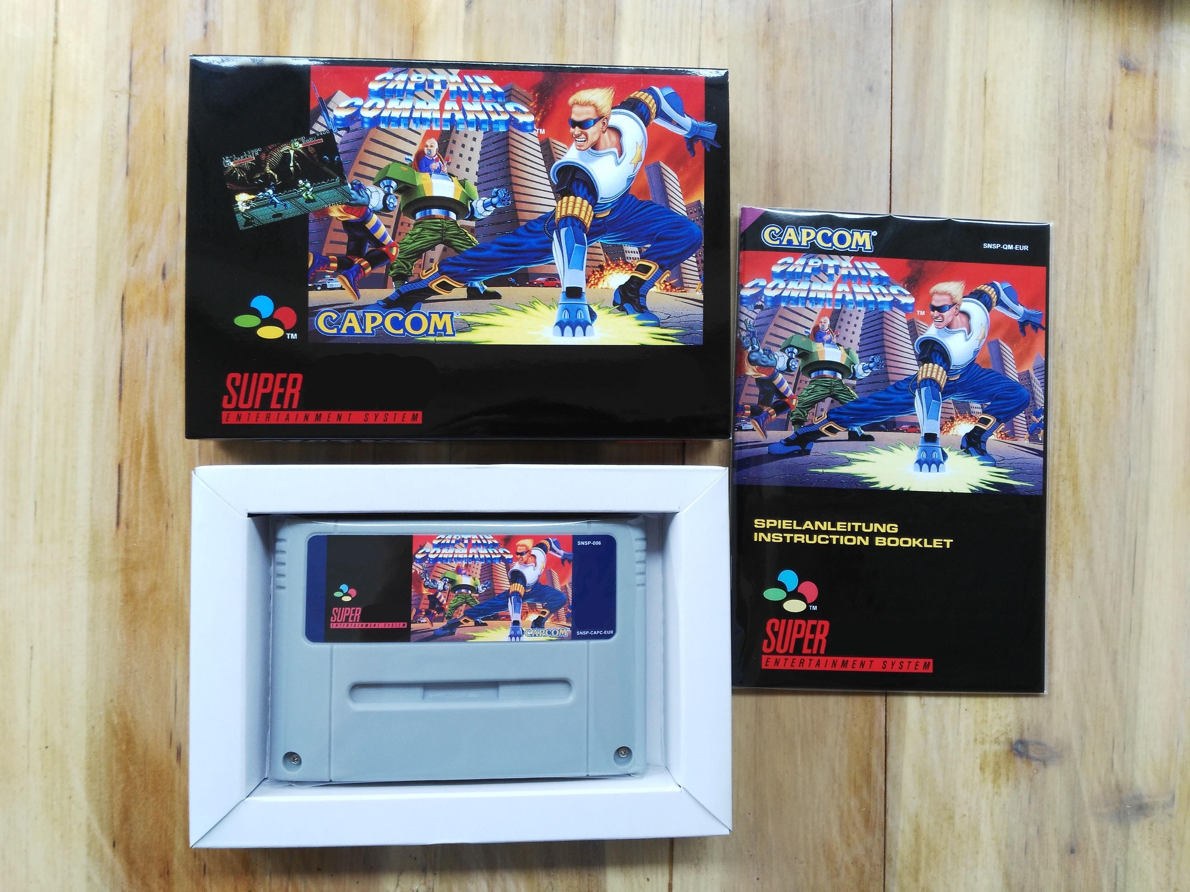 16Bit Games CAPTAIN COMMANDO EUR PAL Version Box Manual Cartridge