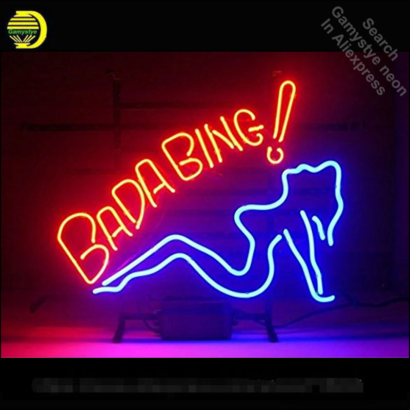 Bada Bing Girl Neon Sign neon bulb Sign Club Neon light Sign glass Tube Handcraft Commercial Iconic Sign Neon light Bright Color neon sign open live nudes sexy girl neon light sign decorate real glass tube neon bulb arcade neon sign glass store display17x14