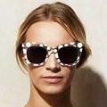 Estilos de moda Verão Mulheres Moldura Quadrada óculos de Sol Senhoras Pontos Redondos Óculos de Armação Transparente