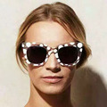 Fashion Summer Styles Women Square Frame Sunglasses Ladies Transparent Frame Round Spots Eyewear