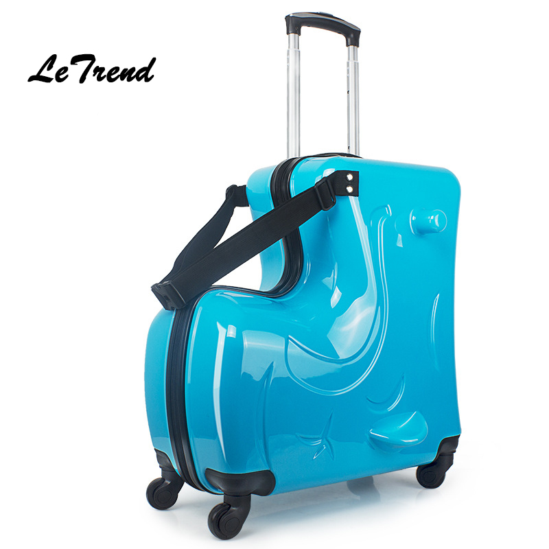 Letrend 14 inch Cute Cartoon Rolling Luggage Spinner Children Suitcases Wheels Kids Cabin Trolley Travel Bag Babys Trunk