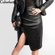 新 2019 の女性のミディスカート Pu レザー黒ハイウエスト非対称セクシーなスリットペンシルスカートボディコンエレガント Femininas SK8673