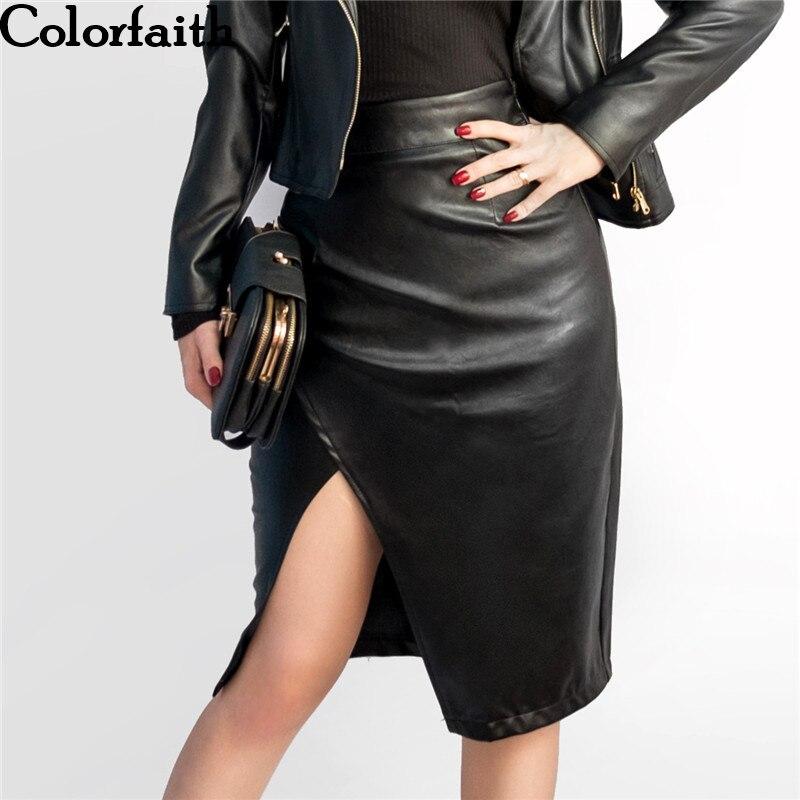 New 2019 Women Midi Skirt PU Leather Black High Waist Asymmetrical Sexy Slit Pencil Skirt Bodycon Elegant Femininas SK8673
