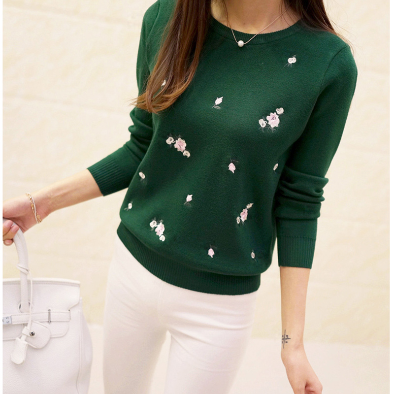 Womens Pullovers Flowers Embroidery Cotton Sweater Beautiful Long-Sleeve Female Solid-Color