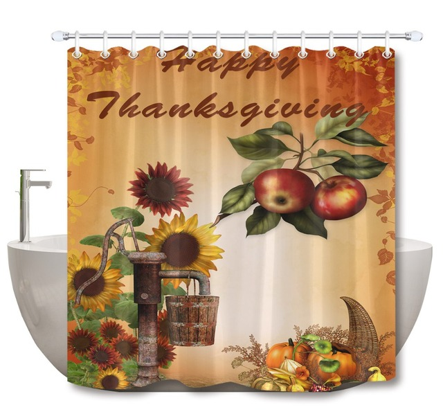 LB Sunflower And Fruit Shower Curtain Happy Thanksgiving Autumn Mat Set Extra Long Waterproof Bathroom Fabric For Bathtub Decor