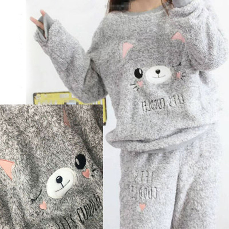 Women   Pajama     Sets   2019 Autumn winter Flannel Cartoon Warm Pyjamas Women Homewear Animal Sleepwear Cat female   Pajamas   Free Ship