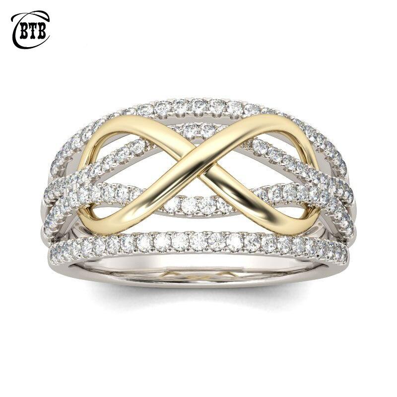 Nuevo diseño para siempre amor anillos de boda mujeres Color plata cobre con piedras de cristal AAA infinito encanto infinito dedo joyería