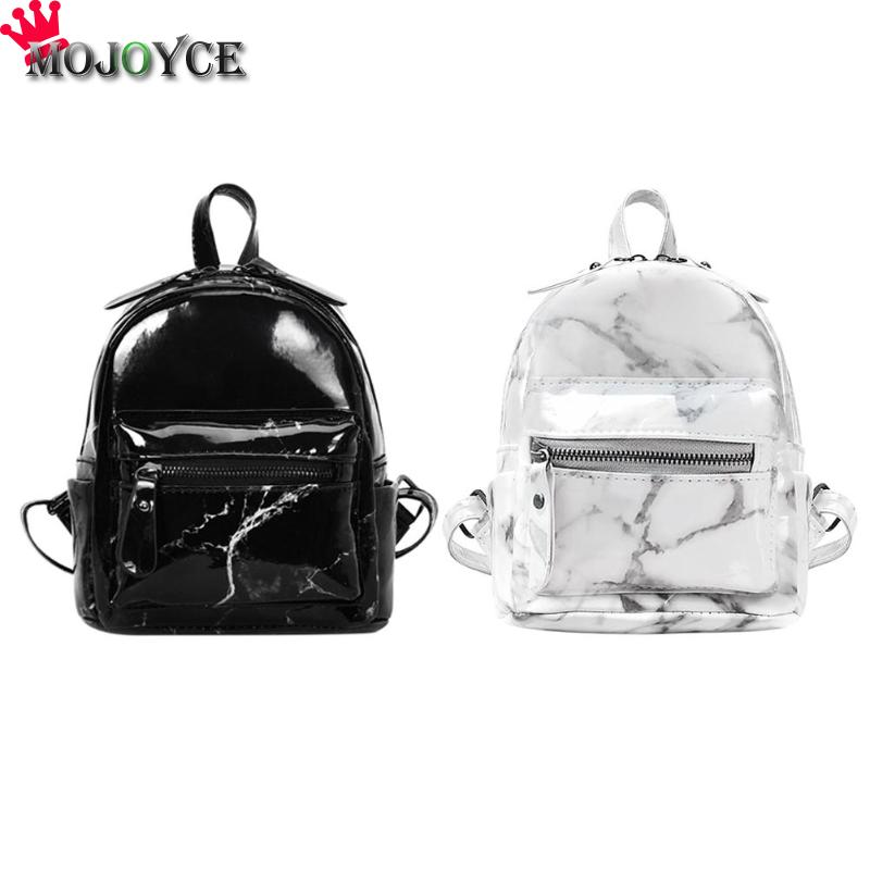 Women PU Leather Backpacks Marble Pattern Small Backpack For Teenager Girls Studengts Black White 2018 Female Small Backpack free shipping new 2017 fashion pu white black with rose butterfly pattern student backpack cheap backpacks bb033