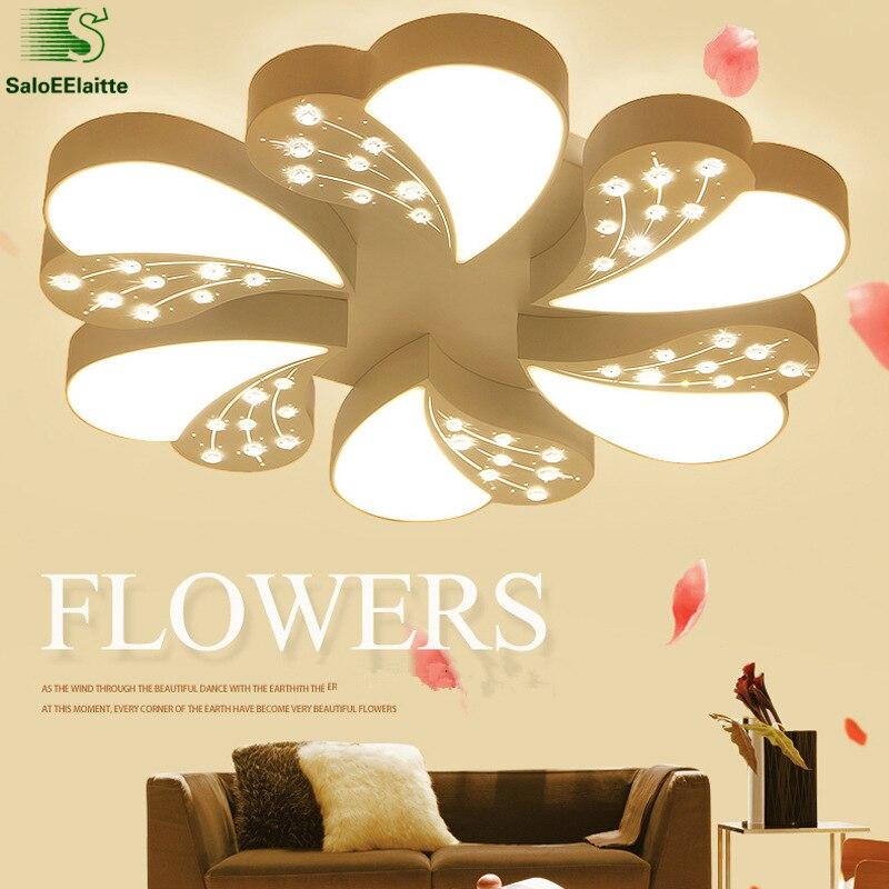 Luminarias Lustre de sala de estar minimalismo cristal Led araña de techo pintura blanca Led candelabro iluminación dormitorio iluminación