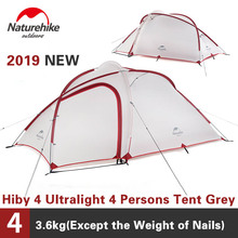 Naturehike Tent 2019 New Hiby Series Camping Tent 20D Silicone Fabric Outdoor 3 4 Persons Ultra light 4 Season Family Tent
