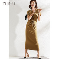 Comfortable Modal Long T Shirt Dress with Knot on Front 2019 Spring Summer Fashion Short Sleeve Summer Dresses 2019 Summer
