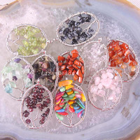Gratis Verzending Boom van leven-Opal Crystal Paars Crystal Onyx Granaat Lapis Kralen Wire Wrap Oval Hanger 10 Stks RK1345