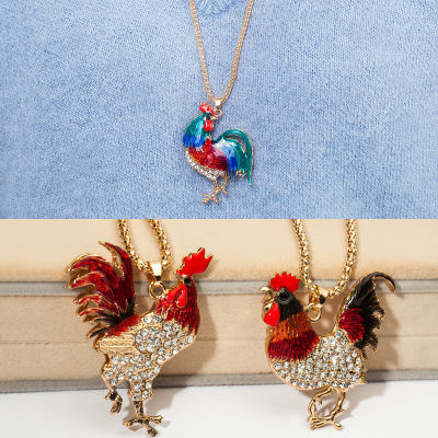 Women Golden Long Rooster Pendant Necklaces Ornament Animals Water-Wave Chain Necklaces Female Cock Metal Sweater Necklaces