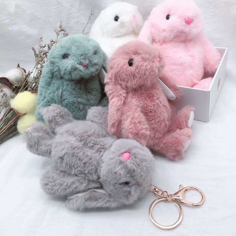 New Arrival Cute Soft Fluffy Rabbit Stuffed Plush Animal Bunny Toy Fashion Doll For Baby Girl Kid Gift Animal Doll Keychain