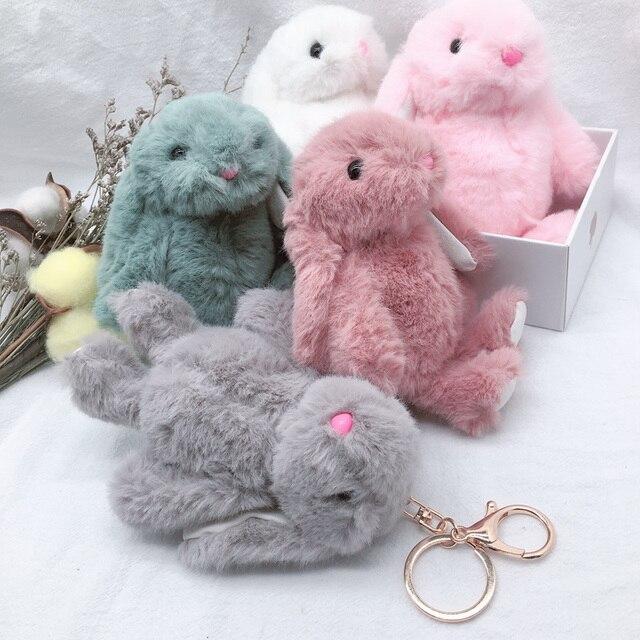 Nuovo Arrivo Sveglio Molle Fluffy Coniglio Farcito Animale di Peluche Coniglio Giocattolo Bambola di Modo Per Il Bambino Della Ragazza Del Capretto Del Regalo Bambola Animale portachiavi