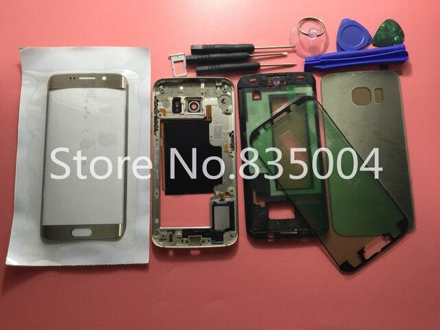 Полный Крышку Корпуса Чехол Для Samsung Galaxy S6 edge G925F G925 Полное Покрытие (задняя крышка/Mid рамка/навершие) + стекло + Инструменты