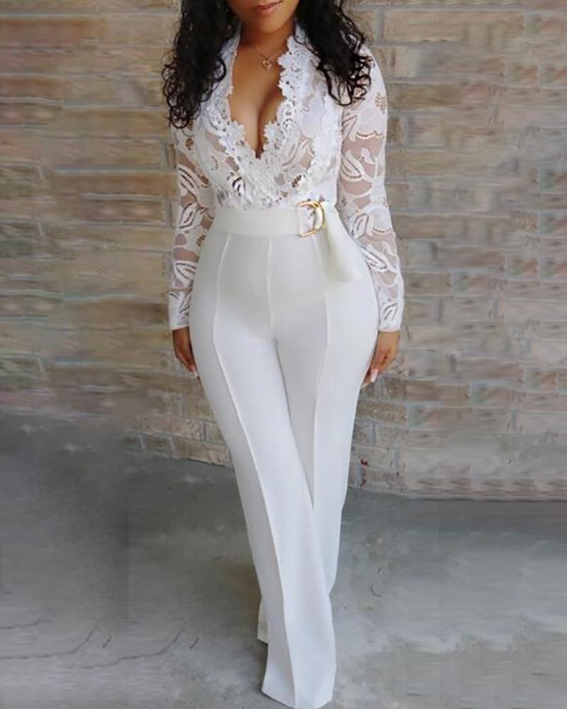 Jumpsuit Female Overalls Rompers-Patchwork Long-Sleeve Elegant Women Sexy Trousers Lace
