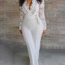 Женский сексуальный элегантный комбинезон, комбинезон из кусков, женский комбинезон с длинным рукавом, кружевной комбинезон, брюки, вечерние комбинезоны