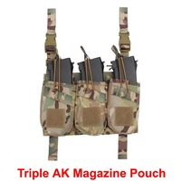 New Tactical Triple AK Magazine Pouch Outdoor Military Ammo Clip Bags Holder Pocket Dump Hunting Bag ht728