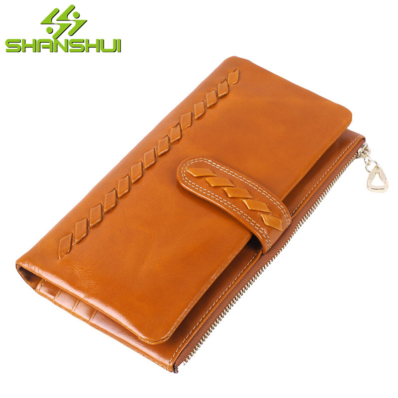 Women Oil Wax Cowhide Real Leather Knitting Wallet Purse Fashion Vintage Large Capacity Zipper Hasp Soft Long Handbag Clutch Bag new arrival button wallet lady multifunctional purse long style zipper hasp oil wax cowhide closure huge capacity fashion han