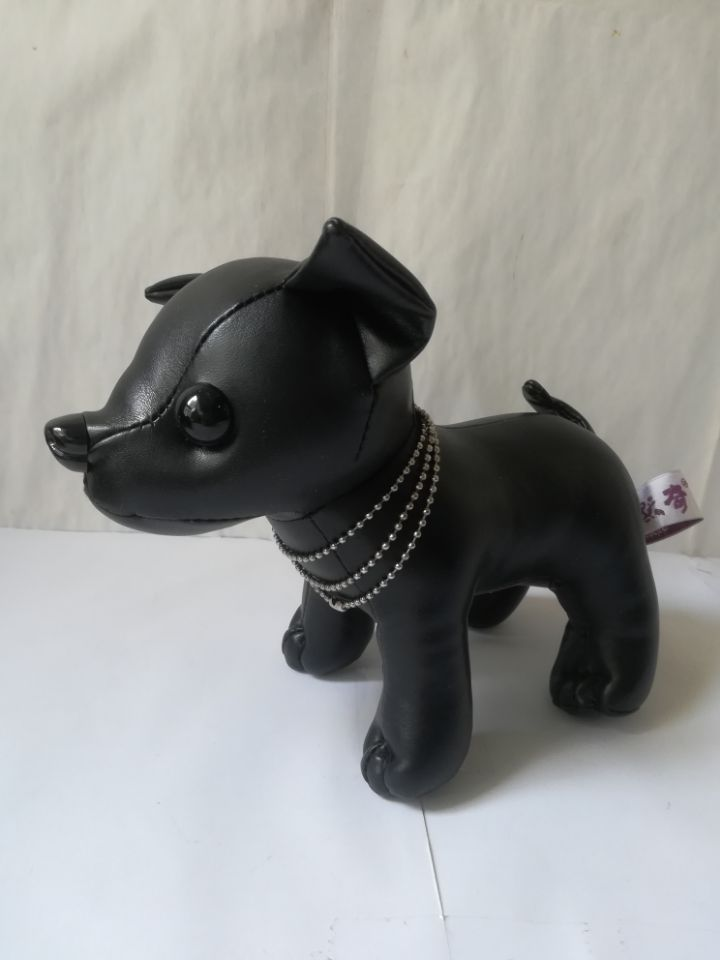 Lovely Black Chihuahua Plush Toy About 20x16cm Pu Leather Dog Soft