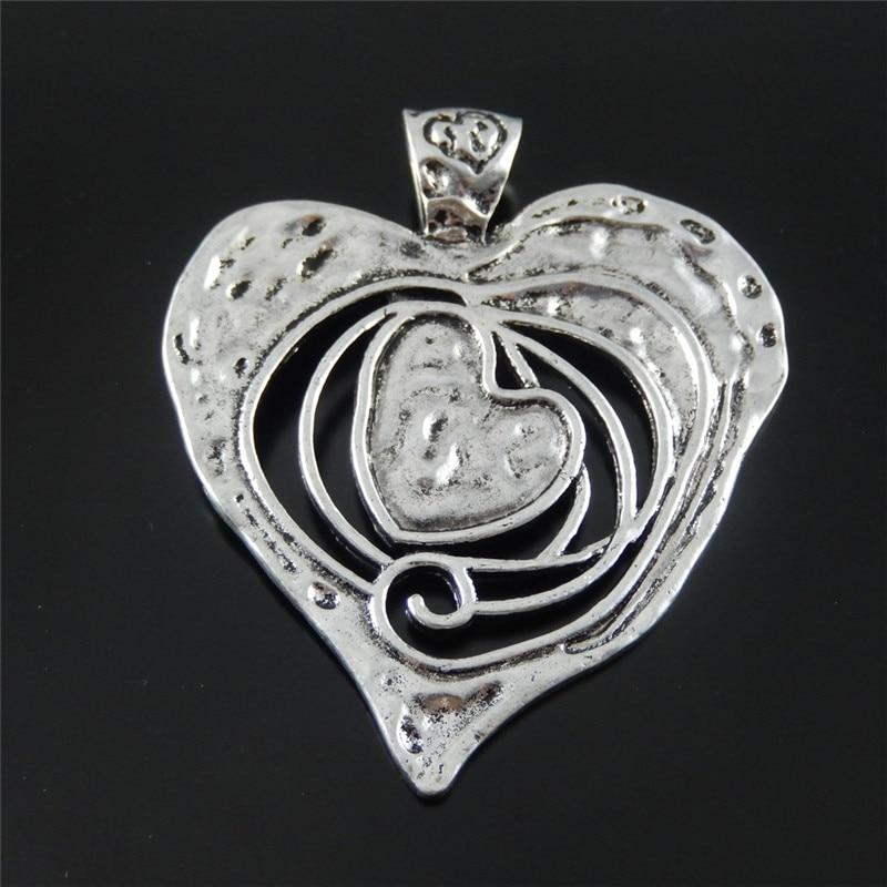 graceangie 3pcs graceangie antique silver tone alloy melting heart large necklace charms pendant. Black Bedroom Furniture Sets. Home Design Ideas