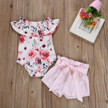 Summer Baby Girl Casual Flare Sleeve Cotton Floral Print Romper Tops Striped Shorts Outfits Set