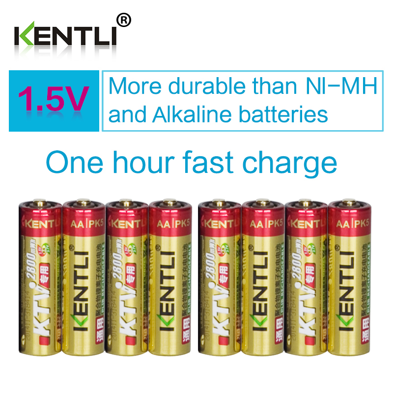 8pcs/lot KENTLI 1.5v AA 2800mWh Rechargeable Li-ion Li-polymer PK5 Lithium battery For wireless microphone camera ect