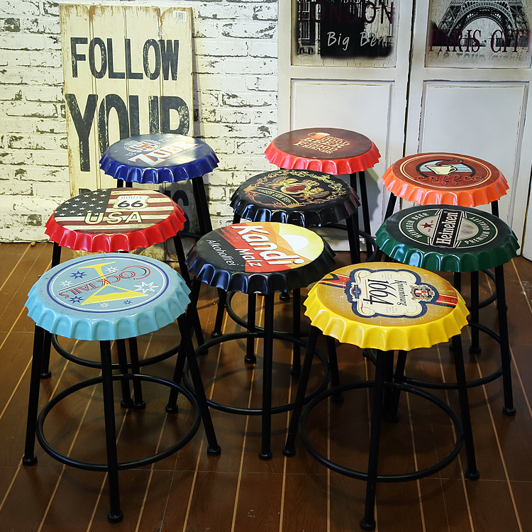 American Retro Wrought Iron Bar Stool Highchair Creative Wine Bottle Stool Lift Bar Chairs Round Bar Stools Accessories ...