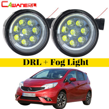 Cawanerl 2 X Car Styling LED Fog Light Angel Eye Daytime Running Light DRL Accessories For Nissan Note E11 MPV 2006-2015