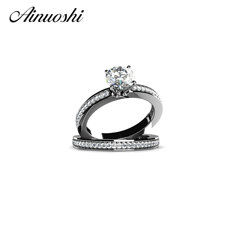 AINUOSHI 1ct Round Cut Zircon Real 925 Sterling Silver Ring Set for Women Wholesale Wedding Engagement Fashion Jewelry Ring SetAINUOSHI 1ct Round Cut Zircon Real 925 Sterling Silver Ring Set for Women Wholesale Wedding Engagement Fashion Jewelry Ring Set