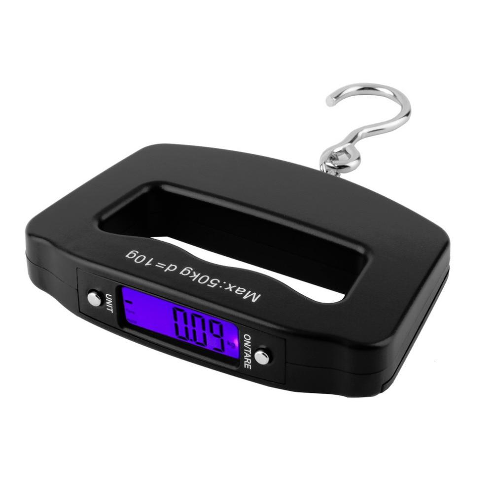 Escala del equipaje colgando balanza digital de mano de pesaje peso 50 kg/10g LCD para la pesca electrónicos de bolsillo gancho de plástico