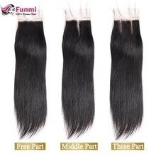 Funmi 8-20 дюймов Необработанные индийские девственные волосы прямые кружева закрытие 1 пучок 4x4 дюймов человеческие волосы лакмарли с Детские волосы могут быть окрашены