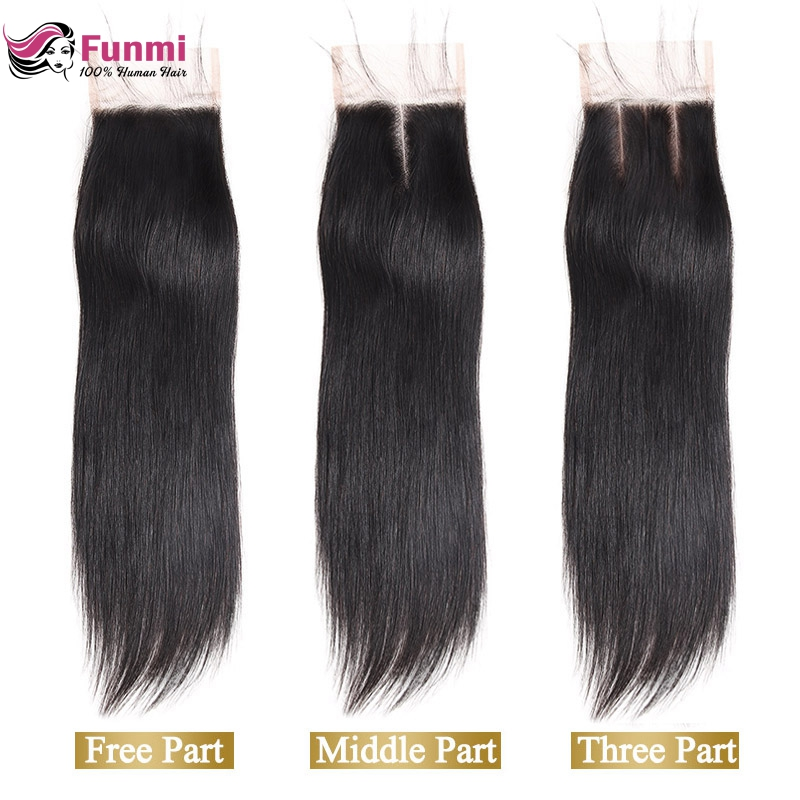Funmi 8-20 Inch Raw Indian Virgin Hair Straight Lace Closure 1 Bundle 4x4inch Human Hair LaceClosure With Baby Hair Can Be Dyed