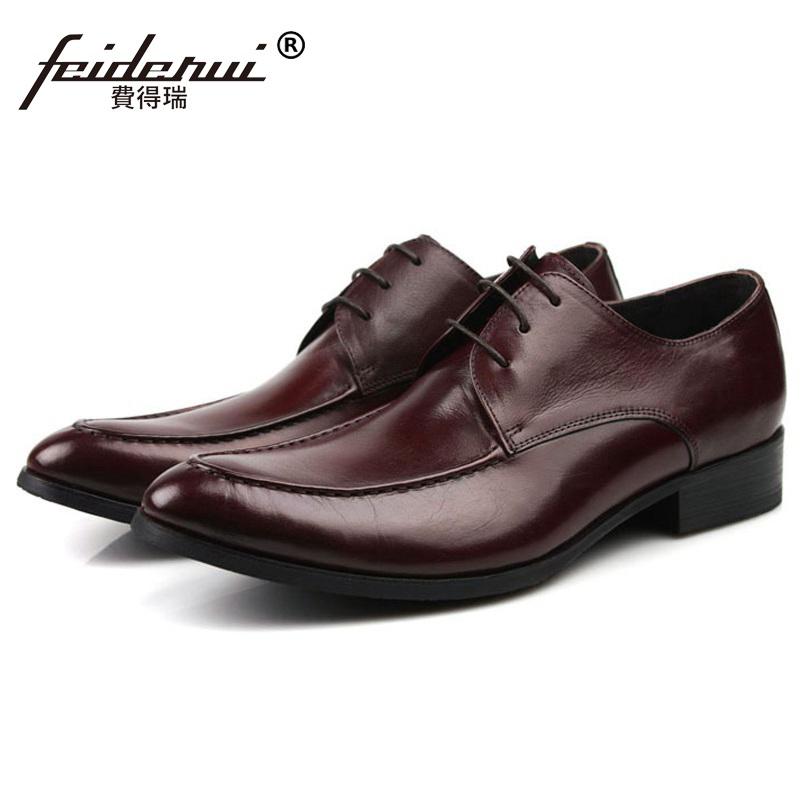 Round Toe Formal Man Dress Office Shoes Genuine Leather Male Oxfords Luxury Brand Flats Men's Wedding Bridal Footwear LF84 mycolen mens shoes round toe dress glossy wedding shoes patent leather luxury brand oxfords shoes black business footwear