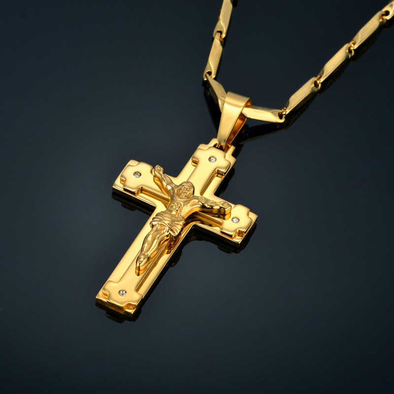 Big Stainless Steel Necklace Chain 4 Size Gold Color Christian Jewelry Jesus Crucifix Men's Cross Pendant Necklace For Men xl999