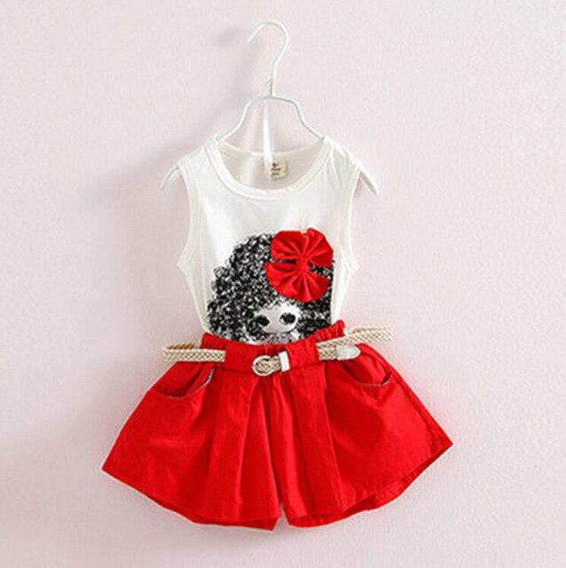 Летняя одежда для маленьких девочек, детский жилет, шорты, два комплекта ремней, детская одежда
