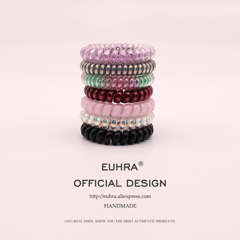 EUHRA 7 Colors Telephone Line Hair Ropes Girls Colorful Elastic Hair Bands Kid Ponytail Holder Tie Gum Hair Accessories
