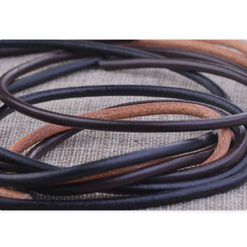 5m Black Cowhide Leather Cord For DIY Handmade Craft Accessories Jewelry For Beading Necklace Ethnic Meterial Wholesale