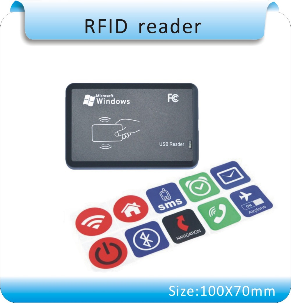 Free Shipping 13.56MHZ Reader And 10pcs(more Style)  NFC TAG Sticker  Chip NTAG213 NFC Tag Universal Lable, ISO14443A